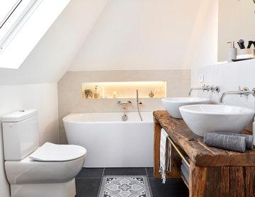 Badezimmer im klassisch modernen Landhausstil
