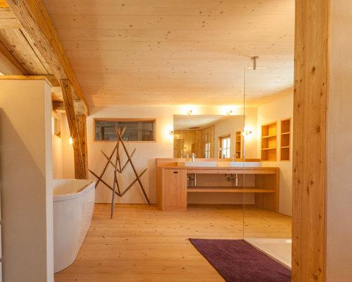landhausstil badezimmer lehm ideen beispiele f r die. Black Bedroom Furniture Sets. Home Design Ideas