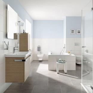 Badezimmer Blau Holz