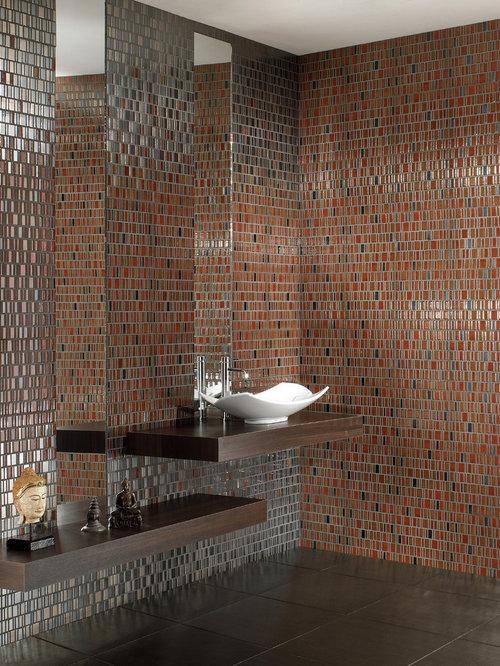 Badezimmer Mit Farbigen Fliesen Ideen Design Bilder Houzz - Farbige fliesen badezimmer