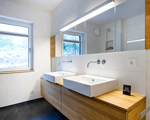 moderne badezimmer mit aufsatzwaschbecken ideen design bilder houzz. Black Bedroom Furniture Sets. Home Design Ideas