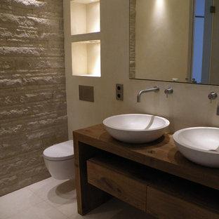 Walk In Shower   Mid Sized Mediterranean Beige Tile And Stone Slab  Limestone Floor