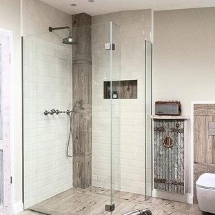 Bodenebene XL Walk In Dusche mit großer Kopfbrause