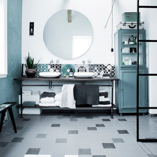 Example Of A Large Tuscan Bathroom Design In Copenhagen With Open Cabinets