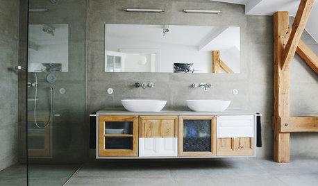 Les meubles de salle de bains jouent avec la couleur