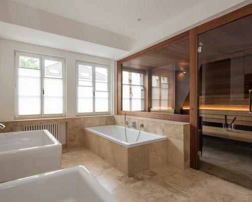 moderne badezimmer mit beigefarbenen fliesen design ideen beispiele f r die badgestaltung. Black Bedroom Furniture Sets. Home Design Ideas
