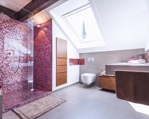 salles de bains et wc avec un carrelage rose et carrelage en mosa que photos et id es d co de. Black Bedroom Furniture Sets. Home Design Ideas