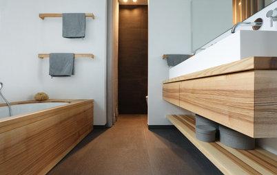 Vorher-Nachher: Ein Bad en Suite im warmen Holzmantel