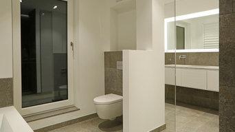 Exklusives Badezimmer mit fränkischem Muschelkalk