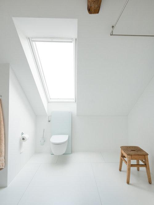 Skandinavische Badezimmer Mit Bodengleicher Dusche: Design-ideen ... Skandinavische Badezimmer