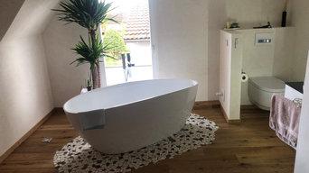 Fugenlose Dusche und Bad mit Kalkmuschelputz