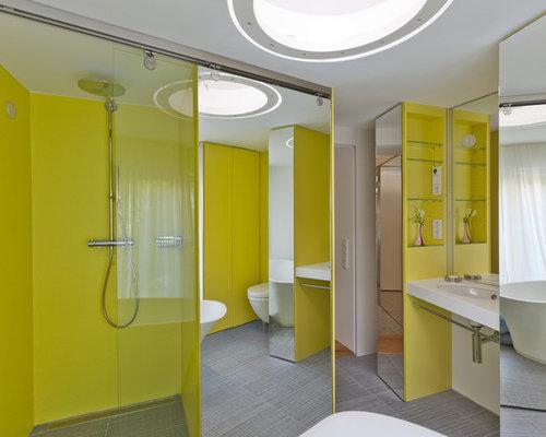 mittelgro e badezimmer mit wandwaschbecken design ideen beispiele f r die badgestaltung houzz. Black Bedroom Furniture Sets. Home Design Ideas
