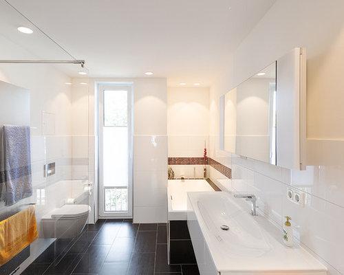 Badezimmer Mit Schwarzweißen Fliesen Ideen Design Bilder Houzz - Schwarze glanz fliesen