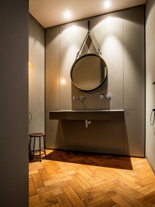 Badezimmer mit Beton-Waschbecken/Waschtisch Ideen, Design & Bilder ...