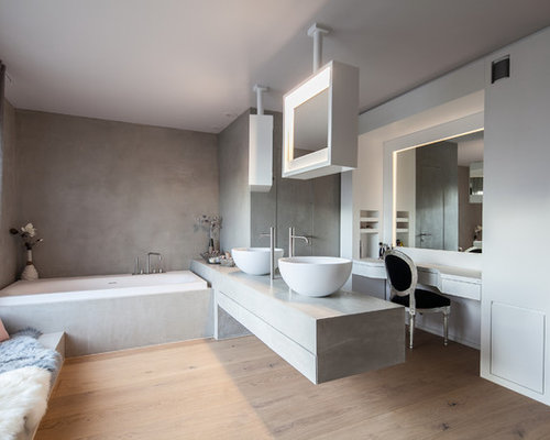 badezimmer mit beton waschbecken waschtisch ideen design bilder houzz. Black Bedroom Furniture Sets. Home Design Ideas