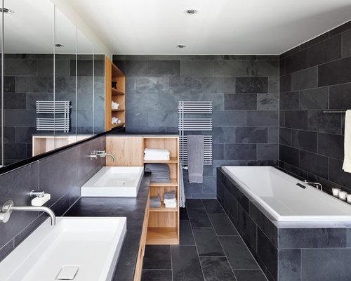 badezimmer mit aufsatzwaschbecken und grauen w nden ideen beispiele f r die badgestaltung houzz. Black Bedroom Furniture Sets. Home Design Ideas