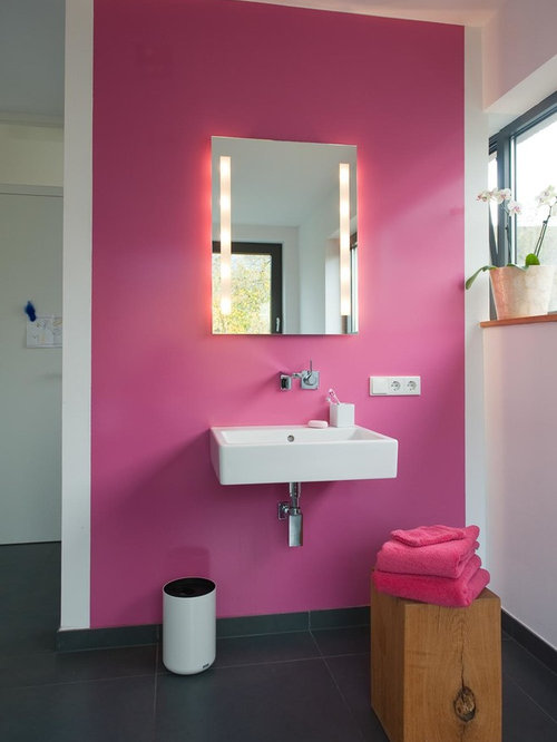 Pink bathroom and cloakroom design ideas renovations for Pink and grey bathroom ideas