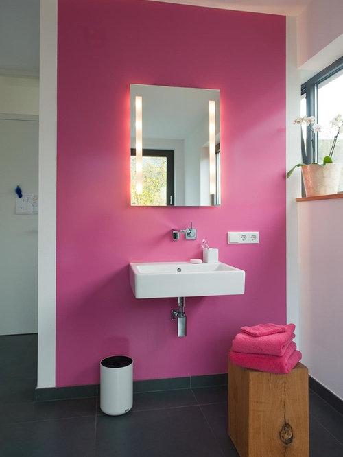 Moderne Badezimmer Mit Rosa Wandfarbe Ideen Design Bilder Houzz - Rosa fliesen bad