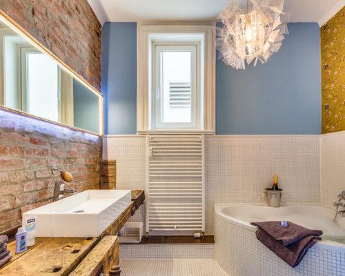 Badezimmer mit Mosaik-Bodenfliesen Ideen & Beispiele für die ...