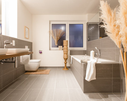 Inspiration For A Large Contemporary Gray Tile And Stone Bathroom Remodel In Cologne With