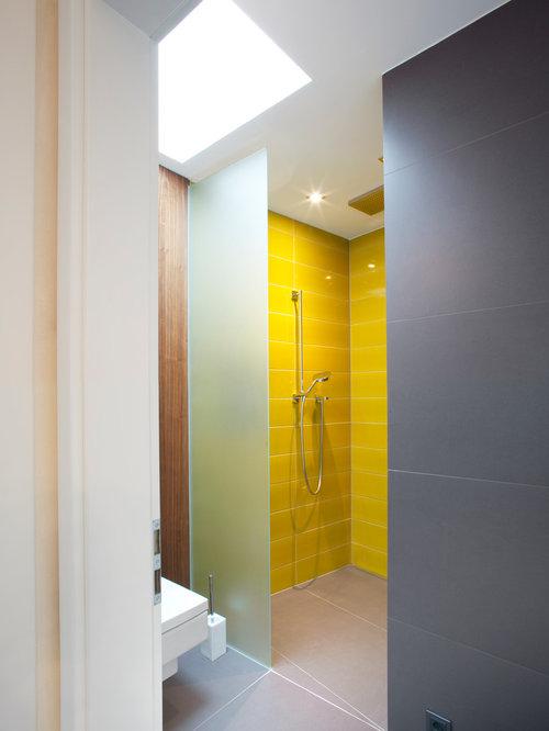 Badezimmer mit gelben Fliesen Ideen & Beispiele für die ...