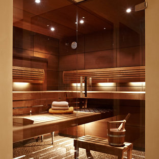 Photo of a mid-sized contemporary bathroom in Munich with brown walls and with a sauna.