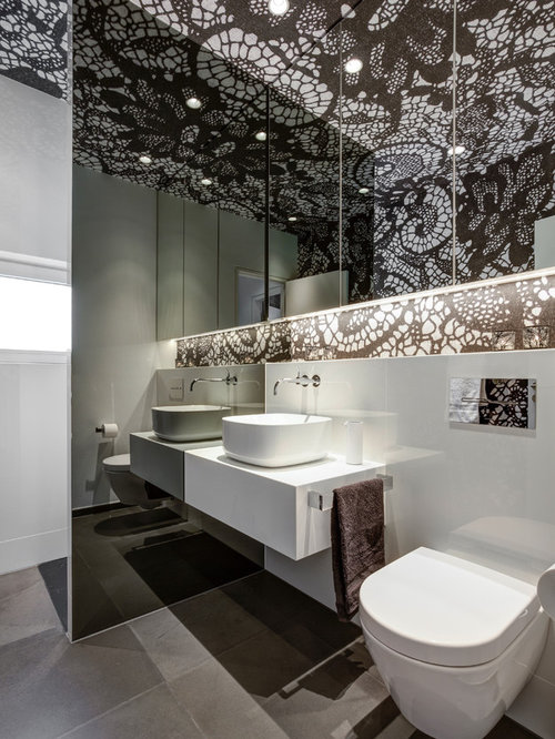 Badezimmer in schwarz wei ideen bilder houzz - Zementfliesen dusche ...