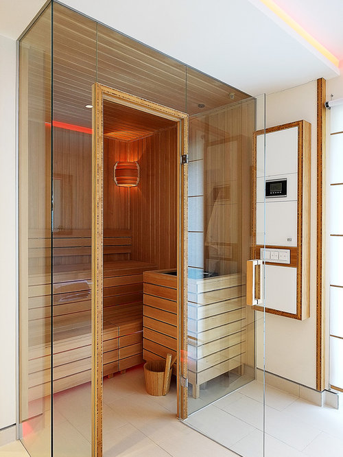 badezimmer mit steinfliesen und sauna ideen design bilder houzz. Black Bedroom Furniture Sets. Home Design Ideas