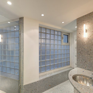 Example of a mid-sized trendy gray tile bathroom design in Munich with white walls, an undermount sink and terrazzo countertops