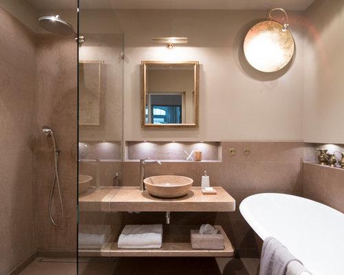 Bad braune fliesen  Badezimmer mit braunen Fliesen - Design-Ideen & Beispiele für die ...