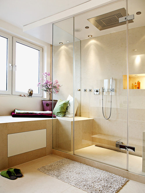 badezimmer mit travertin und bodengleicher dusche ideen design bilder houzz. Black Bedroom Furniture Sets. Home Design Ideas