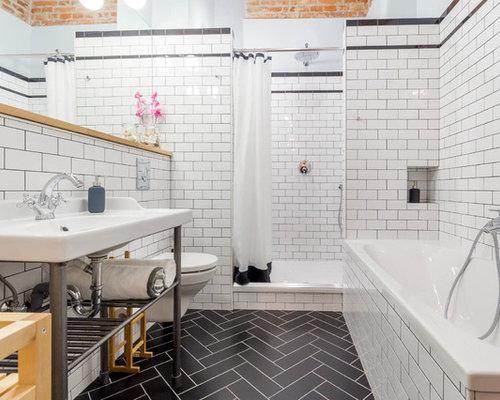 industrial badezimmer ideen design bilder houzz. Black Bedroom Furniture Sets. Home Design Ideas