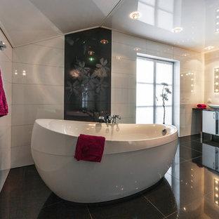 Badezimmer Mit Schwarz Weißen Fliesen Ideen Design Bilder Houzz