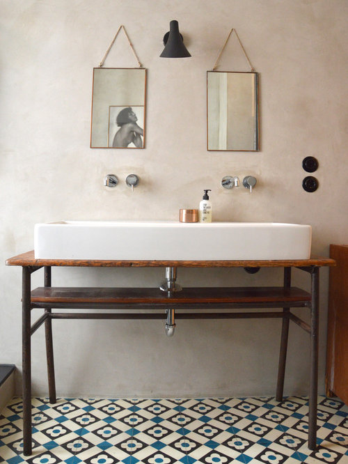 inspiration for an industrial blue tile black tile white tile and cement tile ceramic