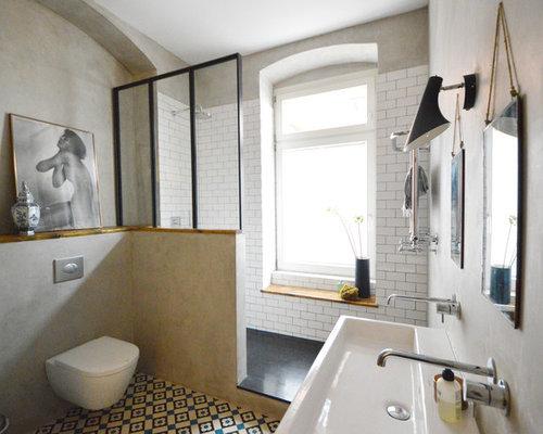 Salle d\'eau industrielle avec des carreaux de béton : Photos et ...