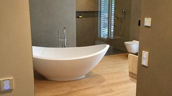 Unsichtbare Lautsprecher unter Putz im Badezimmer