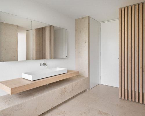 Badezimmer mit waschtisch aus holz design ideen beispiele f r die badgestaltung houzz - Badezimmer ablage holz ...