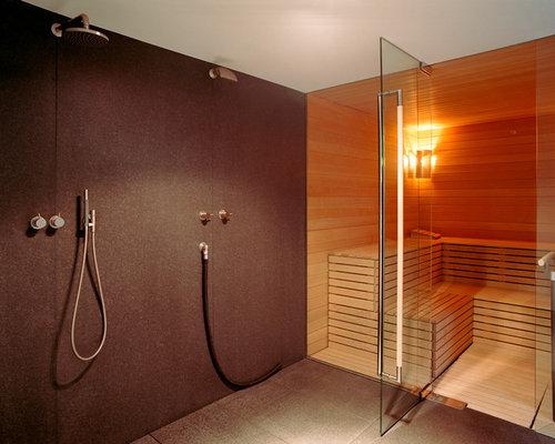Moderne badezimmer fliesen orange  Moderne Badezimmer mit Doppeldusche - Design-Ideen & Beispiele für ...