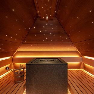Großes Modernes Badezimmer mit braunem Holzboden, Sauna und braunem Boden in Berlin