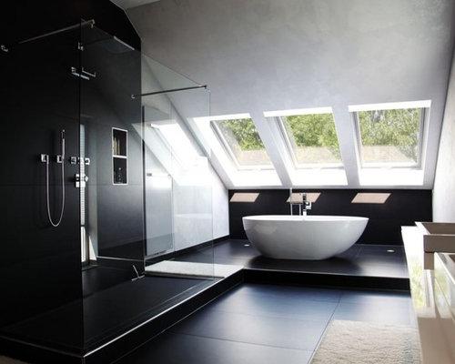 badezimmer mit schwarzen fliesen: design-ideen & beispiele für die, Hause ideen