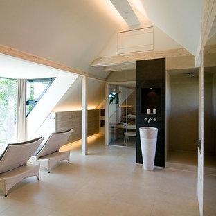 Esempio di un'ampia sauna minimal con lavabo a colonna, top in cemento, doccia a filo pavimento e pareti bianche