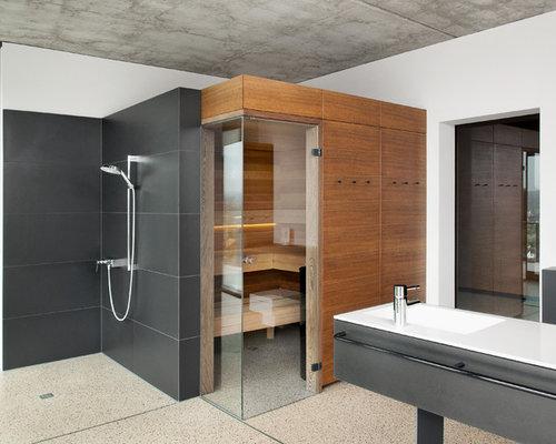 Bagno Marrone Moderno : Stanza da bagno moderna con ante marroni foto idee arredamento