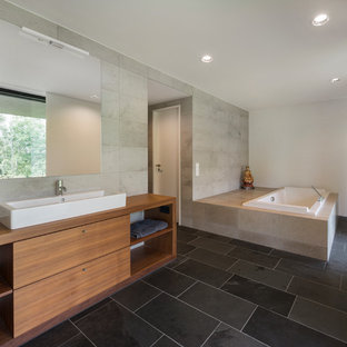 Drop In Bathtub Large Contemporary Gray Tile Slate Floor Idea