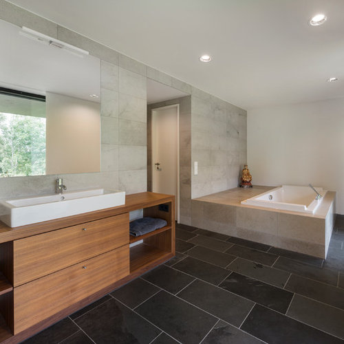 Large Contemporary Gray Tile Slate Floor Drop In Bathtub Idea In Other With  A Vessel