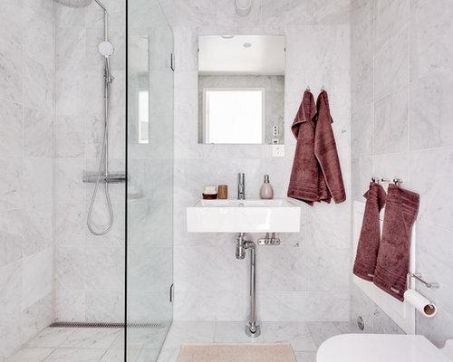 Handfat Funkis : Foton och badrumsinspiration för moderna badrum med ett piedestal