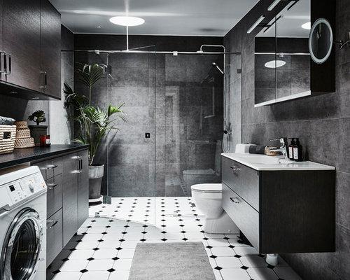 Badrum badrum modernt : Foton och badrumsinspiration för badrum, med laminatbänkskiva och ...