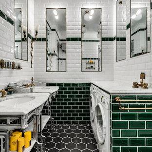 Inredning av ett klassiskt litet badrum