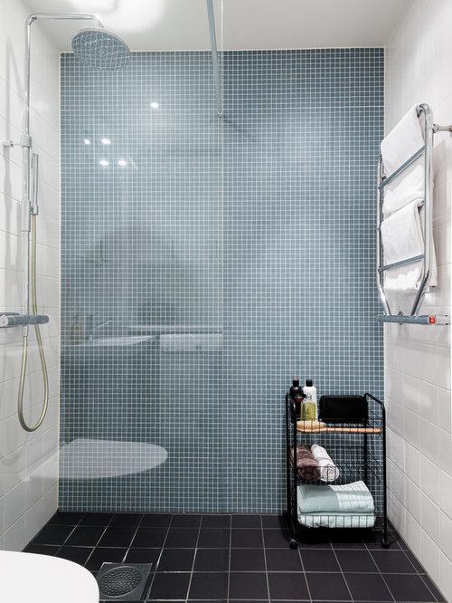 Salle d\'eau scandinave avec un carrelage bleu : Photos et idées ...