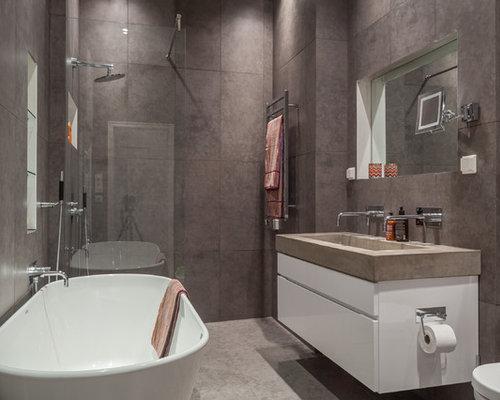 skandinavische badezimmer mit braunen fliesen: design-ideen, Badezimmer