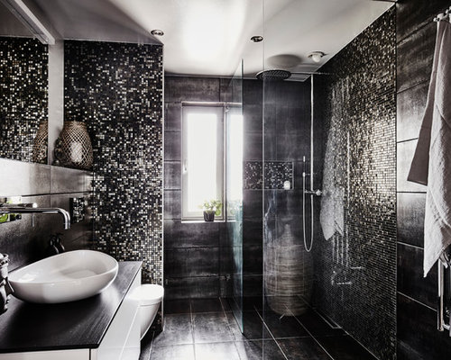 salle de bain avec un sol en calcaire et carrelage en mosa que photos et id es d co de salles. Black Bedroom Furniture Sets. Home Design Ideas